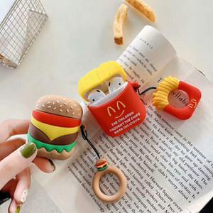 Yaratıcı Patates Kızartması Burger Silikon Kulaklık Çanta Uygulanabilir Airpods Kablosuz Bluetooth Kulaklık Bırak Koruma Kılıf