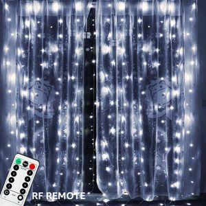 3x3 mt 300 LED Kupferdraht Eiszapfen Vorhang Lichter USB Mit Fernbedienung Lichterkette String Girlande Für Hochzeit Vorhang Decor