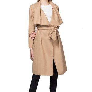 Joineles otoño invierno 4 colores sólidos Mujeres Abrigos solapa ancha Cinturones capas de foso de lana casual Mezclas Oficina Mujer OutwearChildrens Tops