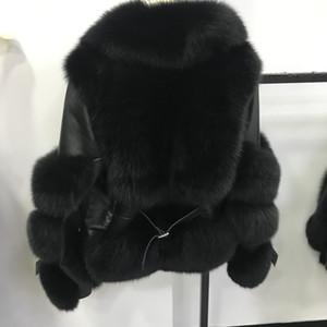 Реальная Шуба из натуральной кожи Куртки овчины натурального меха Шинели женщина зима теплых Природные пальто Женщины Новой мода