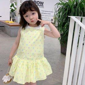 طفلة ملابس حلوة مناقصة الطفل أصفر طوق سترة بلا أكمام ثوب اللون موجة باس الفتيات cottonclothes