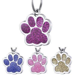 Glitter Dog Paw Print Etiquetas para mascotas Aleación de metal Grabado Tarjeta de identificación del gato Etiquetas Moda Tarjeta de información para mascotas Multicolor 1 2ct E1
