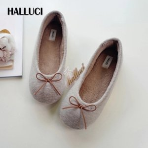 Khaki Knitted home slippers women shoes soft bow-knot short plush insole keep warm Bedroom non-slip slippers shoes for women