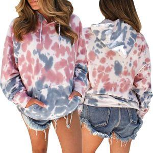 Frauen Maxi-Tie Färben Hoodie Mantel mit Kapuze Pullover Pullover Tops Damenmoden Auntumn Warm Sweatshirts