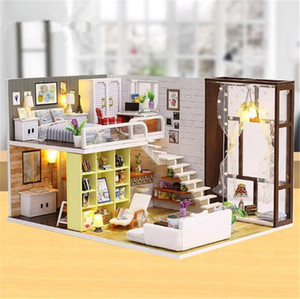 Cute room DIY Doll House 3D Wooden Miniature Doll Houses Miniature Dollhouse toys With Furniture Christmas Gift K200