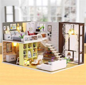 Cute room DIY Doll House 3D Wooden Miniature Doll Houses Miniature Dollhouse toys With Furniture Christmas Gift K200