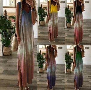 Tie Boyalı V Yaka Kadın Elbiseler Moda Spagetti Askı Gradient Renk Bölünmüş Elbise Günlük Kadınlar Yaz Elbiseler