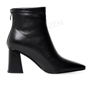 Top Quality Women Ankle Boots Real Leather Booties Back Zip Zapatos Mujer Dress Ladies Shoes Woman Big Size 40 41 42 43
