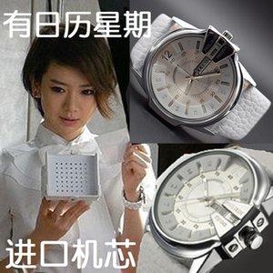 İzle Kız Öğrenci Qi Wei Ünlü Inspired Beyaz Büyük Dial Çift Takvim Kore Stil Basit Moda Moda Su geçirmez