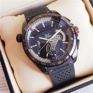 luxo silicone Rubbe Mens Correia mecânicos de aço inoxidável relógios automáticos Movimento Sports assistir Homens Auto-vento Relógios de pulso Tabela TAG