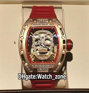 New RM52-01 RM052 Diamant-Schädel-Dial Miyota Automatik Herren-Uhr 052 Rose Gold-Diamant-Kasten Red Rubber Strap Herren Sportuhren Watch_zone