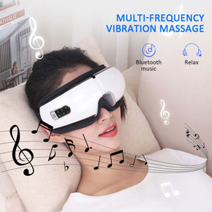 Las presiones de ojos Bluetooth masajeador Air Care Device arruga del ojo de la fatiga de los ojos Libere masaje de la vibración compresa caliente Terapia Glasses