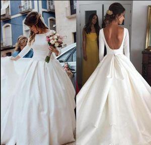 Simple Cheap Wedding Dresses bateau 2019 New Fashion Satin A Line Long Sleeves Backless Wedding Dress robe de mariée Sexy Bridal Gowns