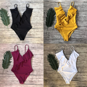 2019 summer swimwear new fashion bikini solid color one-piece swimsuit flounce sexy two-shoulder bathing suit bikini