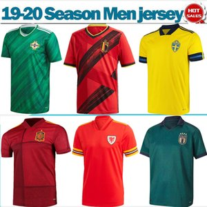 Национальная сборная 2020 Италия Швеция Бельгия футбольные майки 19/20 мужские смешанные футбольные рубашки с коротким рукавом Испания Исландия футбольная форма