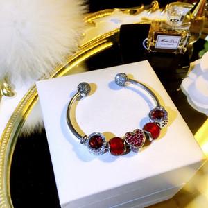 Encanto del amor rojo brazalete abierto para Pandora 925 sistemas de plata de ley Pulsera de cuentas CZ Diamante DIY con la caja
