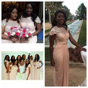 Une ligne robe de demoiselle d'encolure ras du cou en mousseline de soie Applique Cap manches courtes plissées nigérien africain arabe domestique d'honneur robe pour le mariage des clients