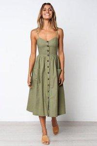 Кнопка полосатая печать хлопковое белье вскользь летнее платье сексуальное спагетти ремешок V-образным вырезом с плечами женщины MIDI платье Velio