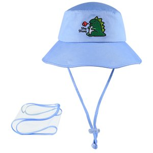 Outdoor UV Protection Sun Cap Baby Hat Traveling Fishing Bucket Hat Removable Visor Face Cover for Kids Boys Girls Age 3 - 10