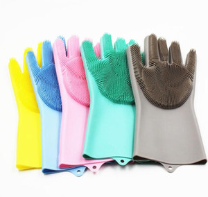 Gant silicone Dépoussiérage vaisselle Gants laver la vaisselle resuable silicone étanche Mitten Ménage Scrubber Cuisine Salle de bain Outils LSK128