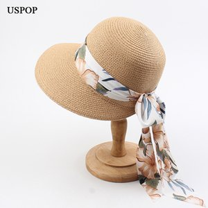 USPOP 2020 New women hats summer straw sun hats romantic long chiffon print ribbon beach wide brim straw hat