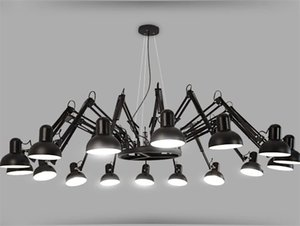 Neueste Black Spider Kronleuchter Beleuchtung Retractable Arm Retro Industrie Lampe Kreative Office Clothing Shop Bar Pendent Beleuchtung
