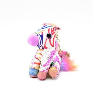 Simulation Animal Zebra Plush Toy Fashion Plush Keychains Backpack Pendant Soft Doll Gift Dinosaur