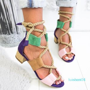 Laamei 2019 New Espadrilles Women Sandals Heel Pointed Fish Mouth Fashion Sandals Hemp Rope Lace Up Platform Sandal l03
