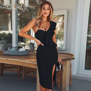 Seamyla Sexy vendaje vestido mujeres 2019 nuevo club desgaste volantes un hombro vestidos negros Bodycon vestido de fiesta de la celebridad Vestidos Y19051001