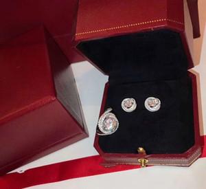 L'insieme dei monili dal design di lusso Trinity Classic S925 argento Sterling Tre rotondi del cerchio grande tondo zircone orecchini e anello Collana