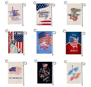 día de la independencia de la bandera de la bandera americana EE.UU. holiday jardín cuarto impresa de julio, bandera de lino decoración del partido de los apoyos 47 * 32 cm FFA4018