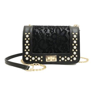 New Women Handbags Lace Pearl Mini Square Flap Bag Wild Chain Crossbody Shoulder Bag lady Purse Clutch Party