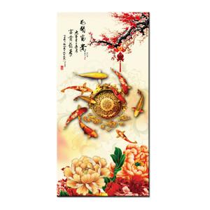 Articoli da regalo serie Caldo moderno di arte della parete della Cina vento Feng Shui Koi Fish Pittura Immagine stampato su tela di canapa ufficio Living Room Decor BFS4009