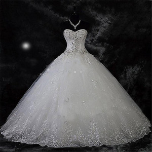 Wed Dress Wed Robe De Mariage Lace Rhinestone Plus Size Ball Gown Wedding Dresses Wedding Bridal Gowns Vestido De Novia
