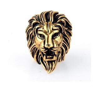 Jóias Vintage Atacado Domineering Lion Head Anel Europa e América Leão Rei Leão Anel De Prata De Ouro EUA Tamanho 7-15