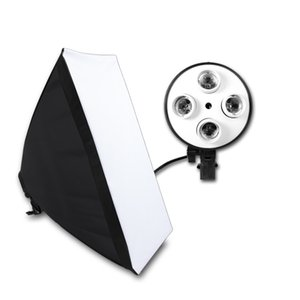Cheap Softbox Equipamento Fotográfico Photo Studio macia Box Kit Vídeo Quatro-tampado Titular Lighting Lâmpada Com 50x70cm Softbox Photo Box