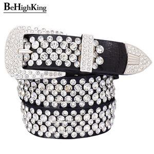 Moda genuína de luxo de couro brilhante cintos de strass para as mulheres desgaste macio clássico cinto de diamantes pulseira feminina Qualidade largura 3,3 Y191218