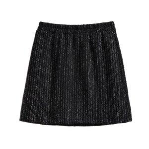New Casual Black Short Skirts Spring 6XL Plus Size Flastic Waist Zipper Graceful Tweed A- Line Slimming Sheath Skirt