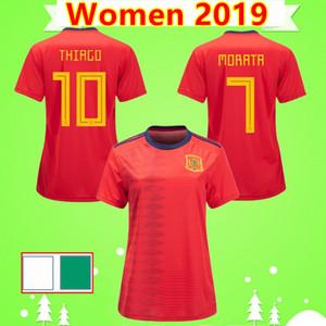 Para mujer 2019 copa del mundo de las mujeres camisetas de fútbol España damas camisas del fútbol de 19 20 uniformes a casa niñas rojas equipo nacional de ISCO RAMOS A.INIESTA
