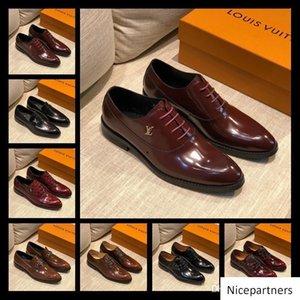 A1 52 Modell Lbrands Entwurfmens-Kleid-Schuhe Geschäfts-Leder-Luxus-Hochzeit Loafer Blumendruck-Mann-Ebene Büro-Party Elegante Schuhe