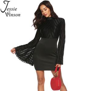 Jessie Vinson largo flare manga Backless Negro malla vendaje vestido mujeres Sexy Patchwork de malla Bodycon mini vestido de fiesta Club Wear