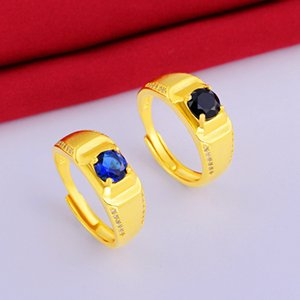 Adjust Ring Fashion Jewelry 18k Yellow Gold Filled Classic Mens Ring Size Free 4-Prong Setting Zirconia