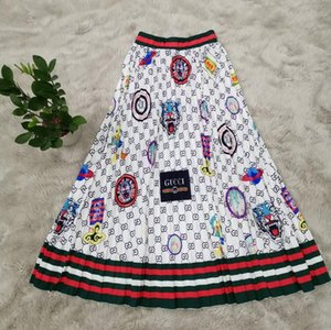 2020 jupes d'été de taille plus haut des femmes imprimé rayé élastique Midi plissé jupe longue femme d'automne jupe grande jupe Jupe taille femmes
