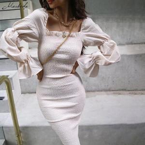 Macheda Autunno maniche lunghe Slash collo veste le donne increspature elegante aderente Midi abiti da signora Slim pieghe Abbigliamento casual 2019