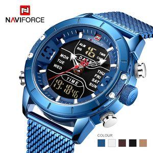 Naviforce 2019 novos 9153 desportivos militares digitais assistir cinta de aço top marca de luxo relógio de pulso Relogio Masculino montre homme