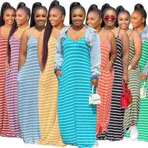 Mulheres vestido de verão Correia de espaguetes listradas Sexy Womens Dresses A-Line Plus Size soltas maxi vestidos das senhoras