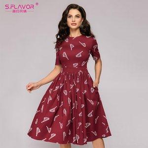S. SAPORE nuova delle donne Red Dress Stampa al largo della spalla sexy una linea vestito a maniche corte Vintage Slim partito Vestidos de
