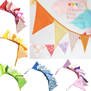 Wholesale-2.5m Multicolor Handmade 12flags Bunting Double side Fabric Flag Banner Garland Wedding Party Decoration