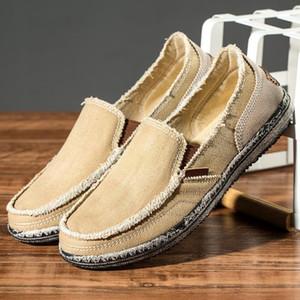 PUAMSS nuevos hombres zapatos de lona de los holgazanes de los hombres zapatos casuales zapatos cómodos para el otoño del resorte de moda transpirable masculino