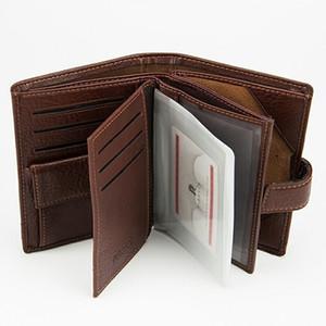Vintage pelle bovina Uomini raccoglitore del cuoio genuino del raccoglitore della frizione Titolare Maschio borsa della moneta del sacchetto della copertura del passaporto Business Document Card Case